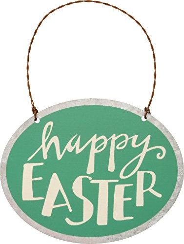 Tin Sign Oval - PBK Tin Metal Miniature Ornament - Oval Happy Easter Sign #29752