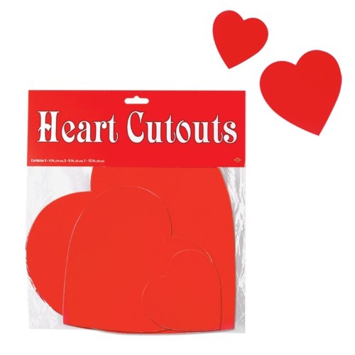 Pkgd Printed Heart Cutouts   (9/Pkg) (Paper Magic Group Costumes)