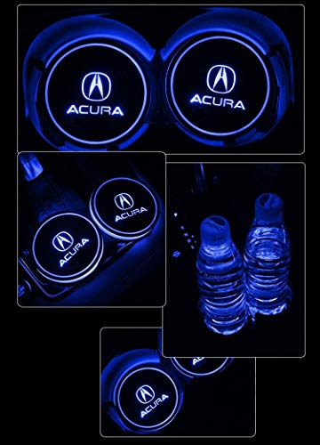 ATlife LED Car Logo Cup Holder Pad Waterproof Bottle Drinks Coaster Built-in Light 7 Colors Changing USB Charging Mat Auto LED Cup Mat Car Atmosphere Lamp 2PCS (for Acura) ()