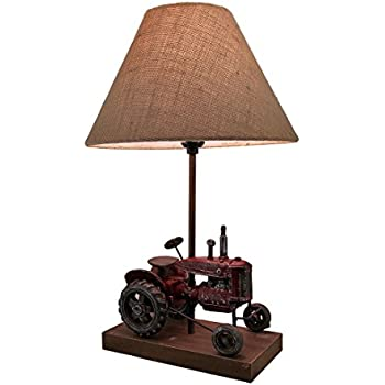 Resin table lamps red antique finish vintage farm tractor table lamp w burlap fabric shade 20 in 12 x 19 5 x 12 inches red