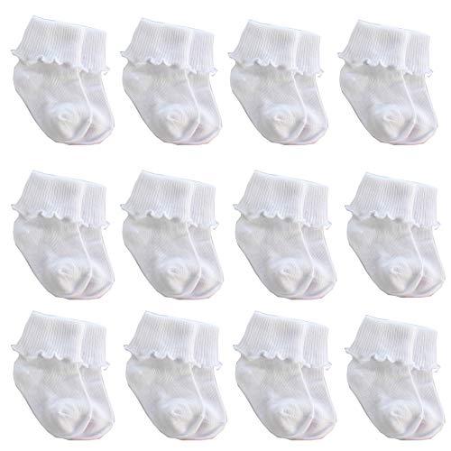 CozyWay Baby Girls Socks 6 Pack Ruffle Ripple Edge Turn Cuff Socks 0-5 Years for Baby Toddler Girls (3-5 Years, White Ruffle Socks-12 Pack) ()
