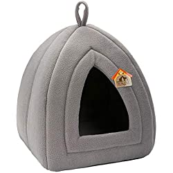 Hollypet Self-Warming 2 in 1 Foldable Comfortable Triangle Cat Bed Tent House, Dark Gray