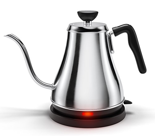 Electric Gooseneck Kettle - Rapid Boil Electric Kettle Water Heater for Pour Over Coffee and Tea - 1L Water Boiler Tea Kettle Teapot Dripper (Best Electric Pour Over Kettle)