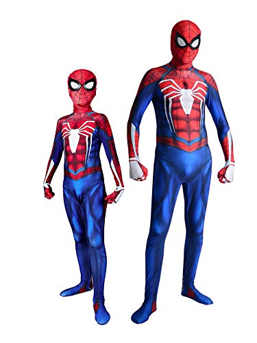Unisex Insomniac PS4 Spider Superhero Kid Halloween Mask Game Cosplay Costume Suit M 130cm