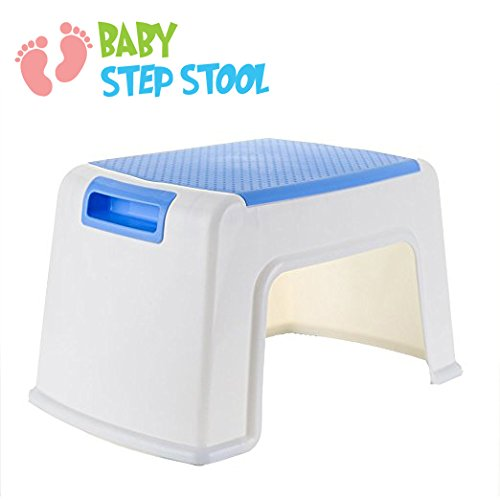 8 Height Step Stool for Kids Toddler Child Potty Training Child Baby Seat with Anti Slip Surface - Rounded Edge Portable Lightweight Easy to Carry Stepping Stool with Max Hold 220 lbs - White Blue My Baby Step Stool