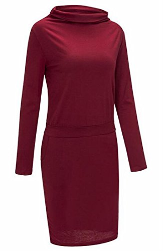 Bodycon Plain Stylish Wine Party Dress Mini Pockets Women's Stand Domple Red Collar CqOIYxancw