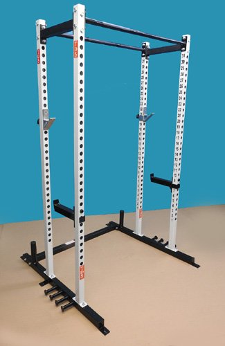 POWER SQUAT CAGE with (2) Pull Up Bars and (4) Band holders welded to bases. Comes with 1000 lb rated ''J'' Hooks and HD Jumbo Hooks with Rubber Lining by TDS