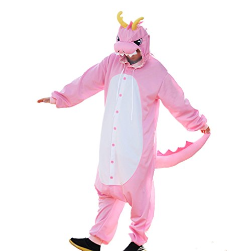 WOTOGOLD Animal Cosplay Costume Dragon Unisex Adult Pajamas Pink ()