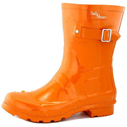 Women's DailyShoes Mid Calf Buckle Ankle High Hunter Rain Boot Round Toe Rainboots, (Orange Boots)