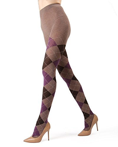 (Memoi Campbell Argyle Sweater Tights | Women's Hosiery - Pantyhose Taupe Heather MF5 114)