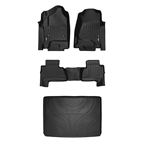 SMARTLINER Floor Mats 2 Rows and Cargo Liner Behind 3rd Row Set Black for 2015-2018 Suburban / Yukon XL (with 2nd Row Bench Seat)
