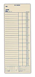 "TOPS Time Cards, Bi-Weekly, 2-Sided, 3-3/8"" x 9"", Manila, Blue Print, 100-Count (1249)"