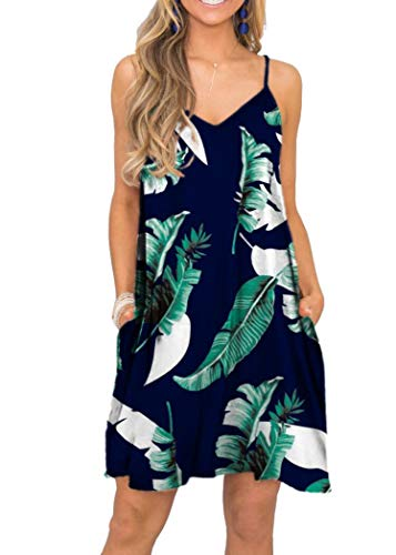 MISFAY Women's Summer Spaghetti Strap Casual Swing Tank Beach Cover Up Dress with Pockets (L, 1Print Blue) ()