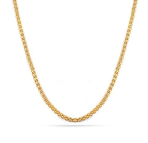 (HUANIAN 18K Gold Plated Stainless Steel Mesh Chain Necklace for Men Pendant Accessory Chain 2.0mm,20