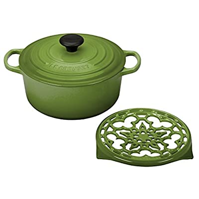 Le Creuset Palm Enameled Cast Iron 4.5 Quart Round Dutch Oven and Deluxe Round Trivet Set