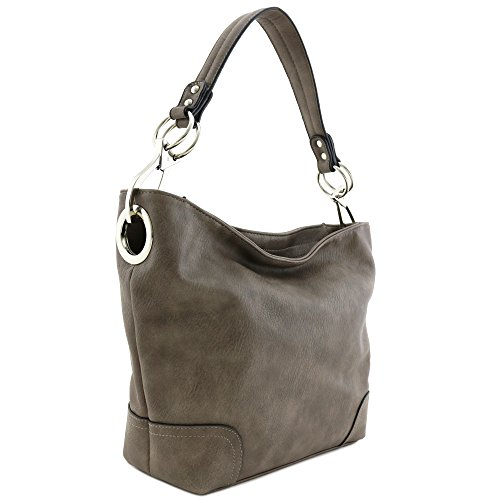 Hobo Shoulder Bag with Big Snap Hook Hardware (Light Coffee) by Alyssa