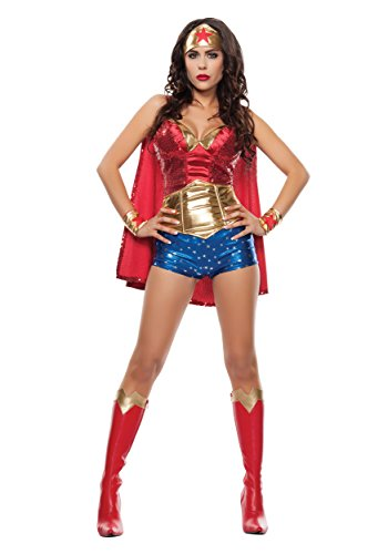 Starline Women's Wonder Lady Sexy 5 Piece Costume Set with Headpiece, Red/Gold, Medium (Wonder Woman Costume Shorts)