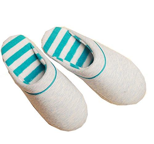 Blubi Hommes Faits À La Main Chaud En Peluche Pantoufles De Maison Pour Hommes Confort Pantoufles Pantoufles Dhiver Bleu Blanc
