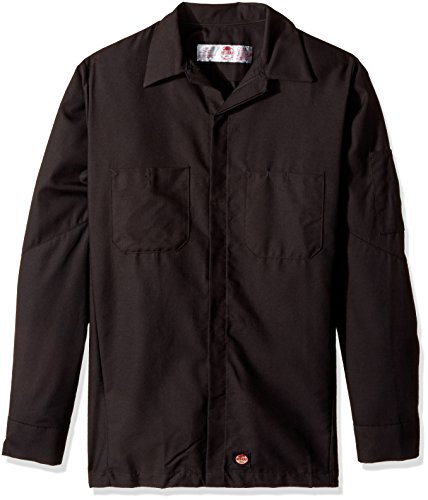 (Red Kap Men's Ripstop Crew Shirt, Long Sleeve, Black, Large)