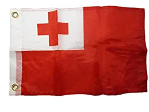 "12 x 18 12 ""x 18"" Tonga país 100% poliéster motocicleta barco bandera ojales resistente a la decoloración doble costura Premium Penant casa Banner ojales"