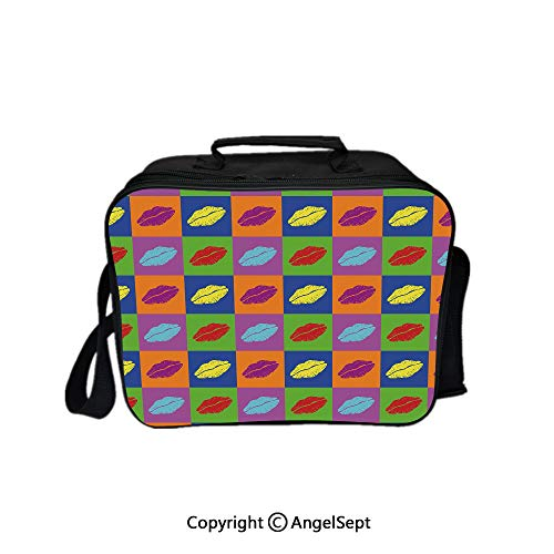 Compartment Lunch Bag for Men, Women,Pop Art Style Lipstick Kisses on Colored Squares 60s Style Seductive Romantic Multicolor 8.3inch,Lunch Cooler Bag with Shoulder Strap (Best Lipsticks In India With Price)