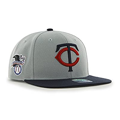 MLB Minnesota Twins Sure Shot Two Tone Captain Wool Adjustable Hat, One Size, Gray
