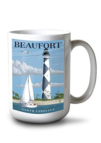 - Lantern Press Beaufort, North Carolina - Cape Lookout Lighthouse (15oz White Ceramic Mug)