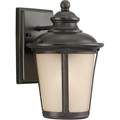 Sea Gull Lighting 88240-780 Outdoor Sconce with Etched Hammered with Light AmberGlass Shades, Burled Iron Finish