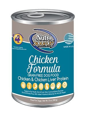Tuffys Nutrisource Grain-Free Canned Chicken Dog Food, Chicken And Chicken Liver Protein 13 Ounce, Pack Of 12