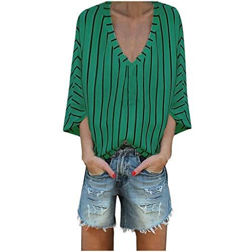 (Sherostore ♡ Women's Casual V-Neck Striped Casual Short Sleeve T-Shirt Blouse Tees Tops Large Size Green)
