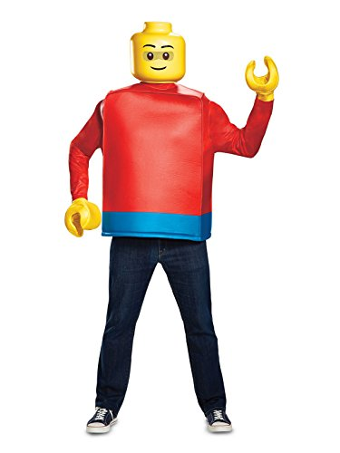 Disguise Men's Lego Guy Classic Adult Costume, Blue, One Size]()