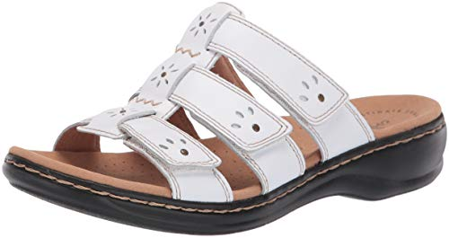 CLARKS Women's Leisa Spring Sandal, White Leather, 90 M US ()