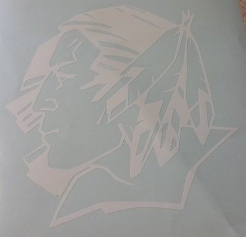 fighting sioux vinyl decal 6''x6''(white)