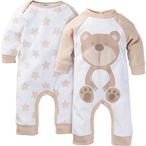 Gerber Unisex-Baby Newborn 2 Pack Coverall, Brown Bear, 6-9 (Boys Bear)