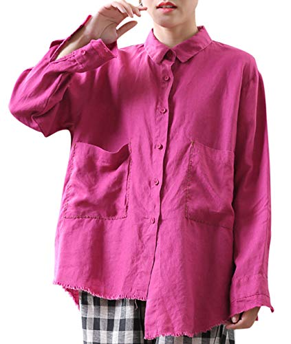 YESNO Women Casual Loose Blouse Long Sleeve Button-Down Shirts Front High Back Low Right High Left Low Unfinished Raw Hemline Embroidered Big Pockets LD8