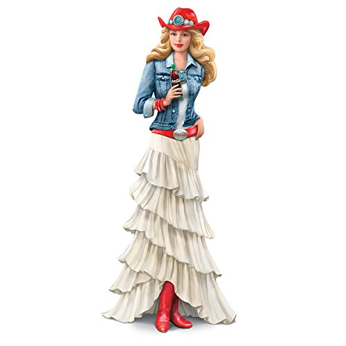 COCA COLA Country Lady Hand-Painted Figurine With Red Cowgirl Boots and Hat by The Hamilton Collection