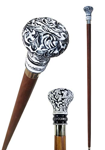 (Brass Nautical - Knob Handle Wooden Walking Stick Cane with Rosewood Stick (Black&White,)