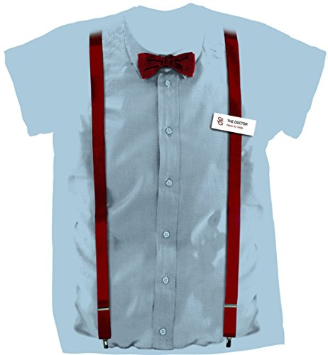 [Doctor Who 11th Doctor Braces and Name Tag Costume Shirt (Small)] (Peter Capaldi Twelfth Doctor Costume)