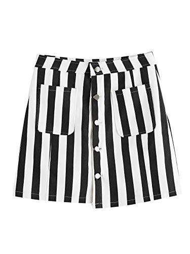 WDIRARA Women's Casual Striped Button Front A Line Mini Denim Skirt Black and White -