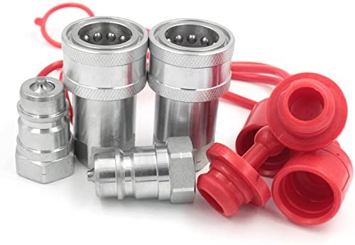 1//2 NPT Thread Hydraulic Quick Connect Couplings Ball Locked Fitting Female and Male with Dust Caps Compatible Parker 6600 Series
