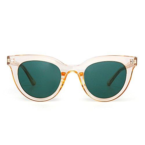 JIM HALO Femmes Bonbons de Miroir Teintés de Vue Transparents Soleil Rond Oeil Chat de Lunettes Epaisses lunettes Vert Orange rrndApwqB