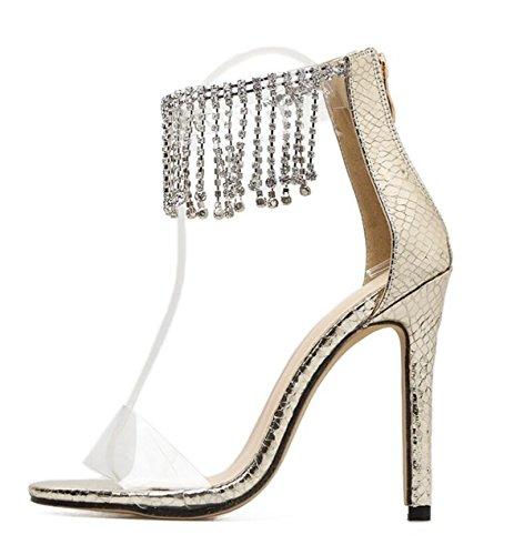 Boucle Artificielle gold Femmes Stiletto Chaussures PU LINYI Talons Transparents xRTXOqF