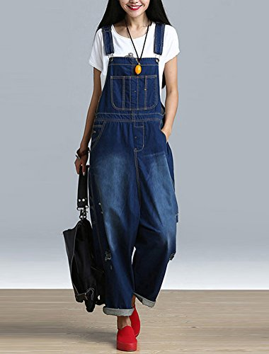 Mordenmiss Women's Rompers Wide Leg Pants Strapless Denim Jumpsuit with Pockets (style-3 Torn dark blue)