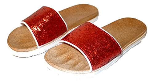 Open Flop Womens Slide Toe 101 Flip Sandal Glitter BEACH Red tqwa5x8g6