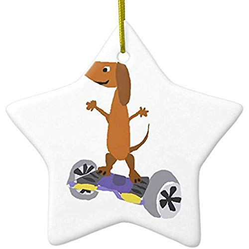 Price comparison product image hiusan Indoor Christmas Decorations Funny Dachshund Dog On Hoverboard Ceramic Christmas Ornaments,  Porcelain, 3 Inches, Christmas Tree Decorations