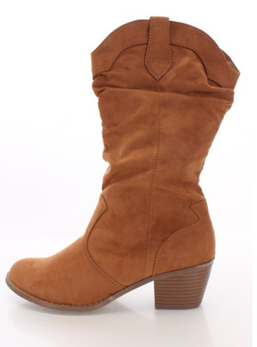 Calf Western Cowgirl Mid Available Boots Tan Women's Cowboy Colors Slouchy 8 Suede Faux EgqwnxZaCX