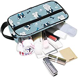 DoubleCW French Bulldog Toiletry Bag for Women with Hanging Hook Large Wash Bag Many Pockets Travel Set Travel Toiletry Kit Cosmetics Makeup Big Toilet Organizer Suitcase Luggage