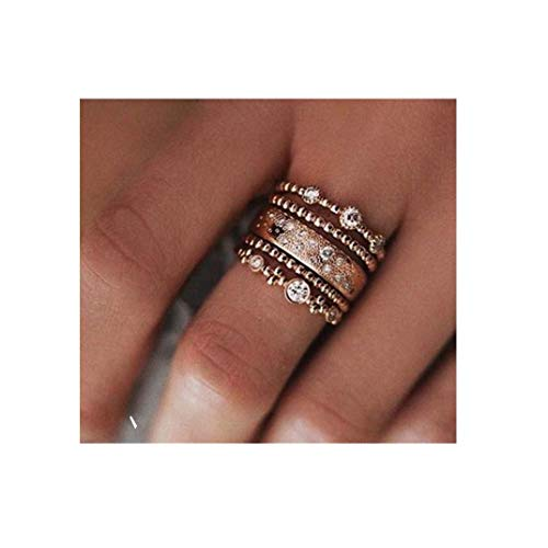 Rose Gold Plated 5 Sparkly CZ Simulated Diamond Stackable Ring Eternity Bands for Women ()