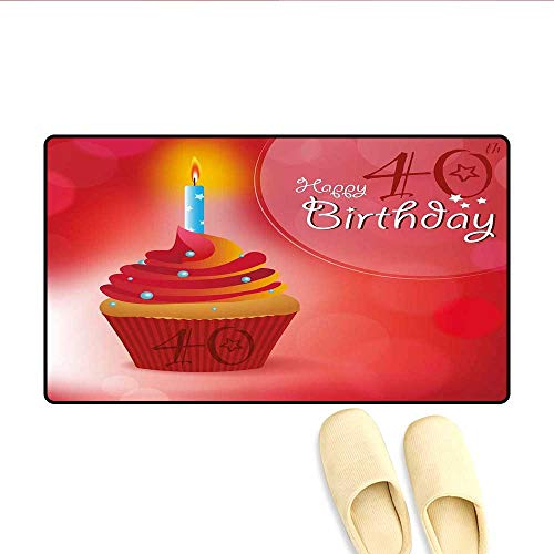 Doormat Sweet Delicious Cupcake with Candlestick Dots and Stars Romantic Design Bath Mats Carpet Red Orange Blue 16
