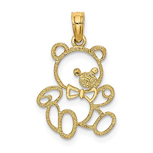 14K Yellow Gold Cut Out Teddy Bear Small Charm Pendant